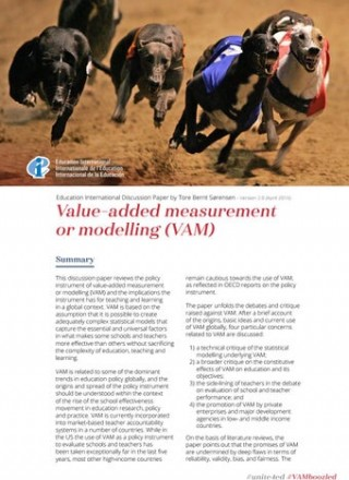 Discussion Paper: Value-added measurement or modelling (VAM)